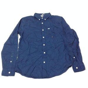 Hollister Men's Casual Button Down Shirt Navy Blue